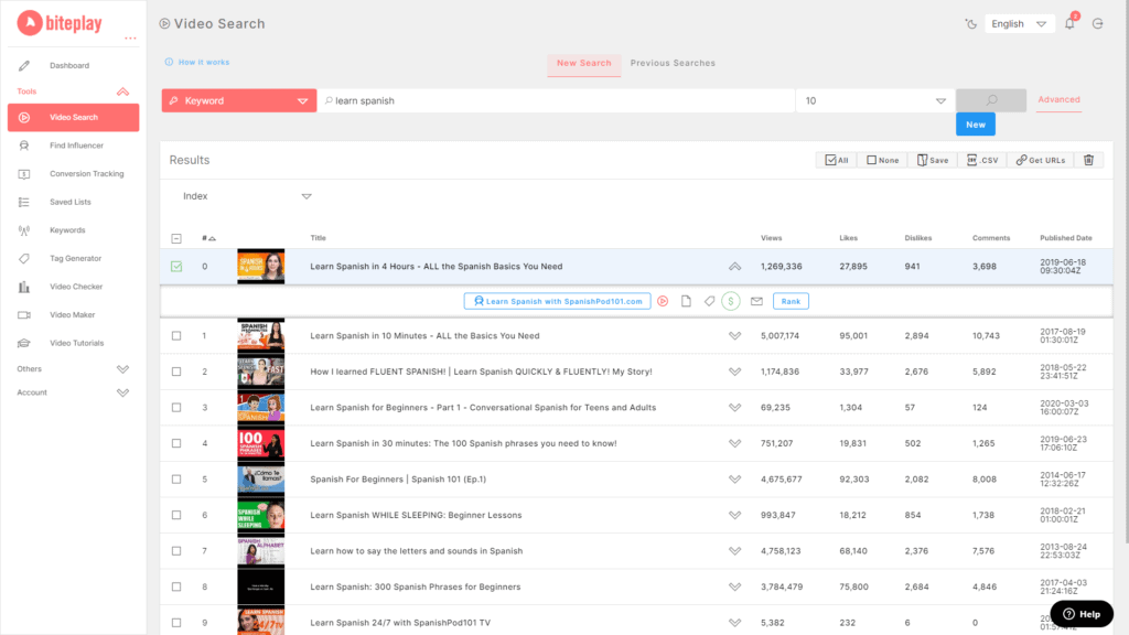 Biteplay | YouTube Ads Targeting Tool 2