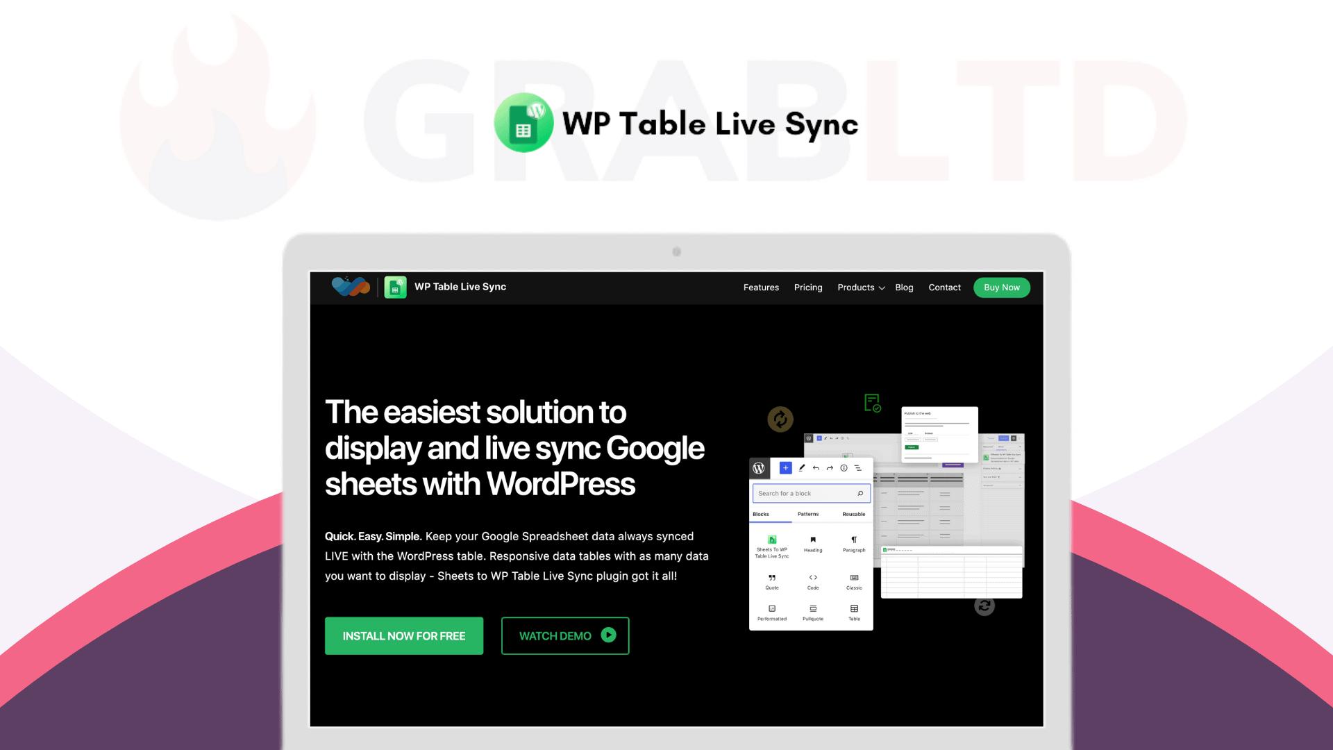 WP Table Live Sync   Sync Google Sheets WP Plugin 1