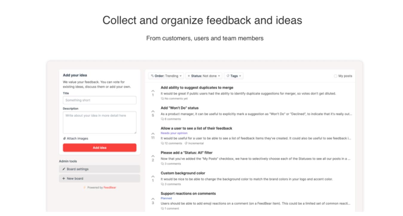 FeedBear | User Feedback Tool For Startups 2